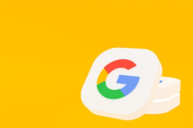 Rendu 3d du logo de l'application google sur fond jaune
