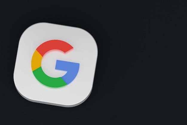 Rendu 3d du logo de l'application google sur fond noir