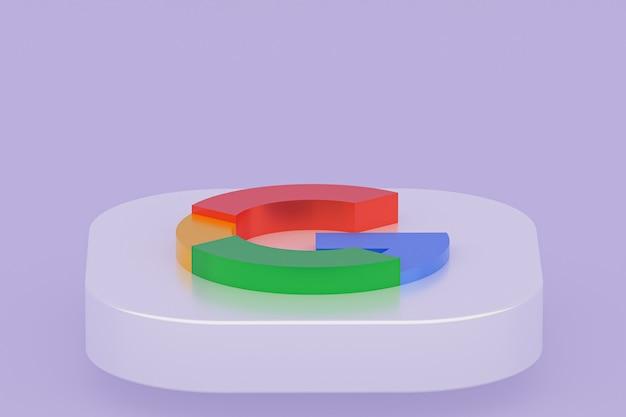Rendu 3d du logo de l'application google sur fond violet