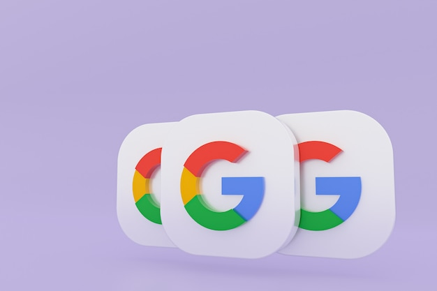 Rendu 3d du logo de l'application google sur fond violet