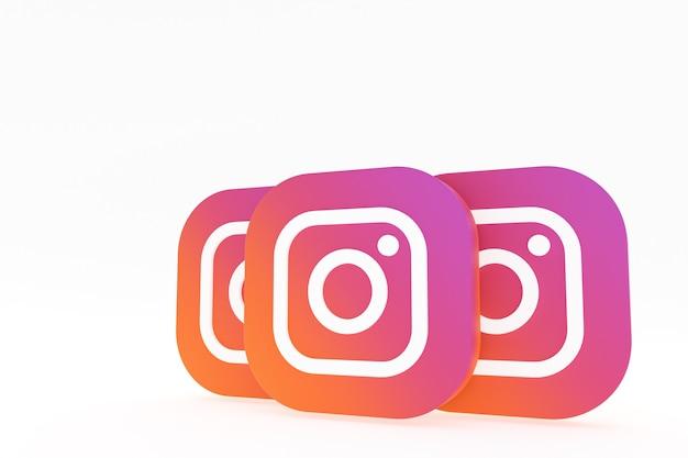 Rendu 3d du logo de l'application instagram sur fond blanc