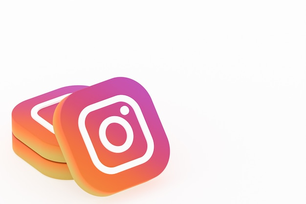 Rendu 3d du logo de l'application instagram sur fond blanc