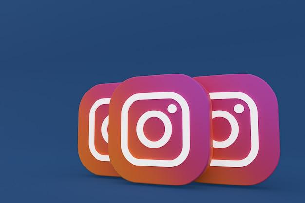 Rendu 3d du logo de l'application instagram sur fond bleu