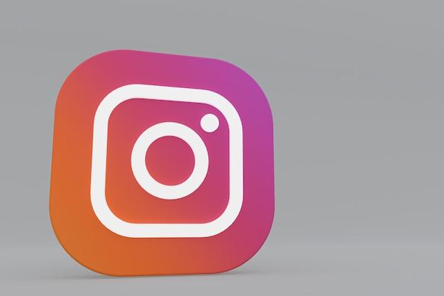Rendu 3d du logo de l'application instagram sur fond gris