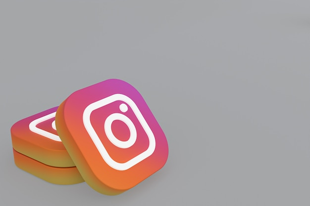 Rendu 3d du logo de l'application instagram sur fond gris