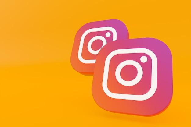 Rendu 3d du logo de l'application instagram sur fond jaune