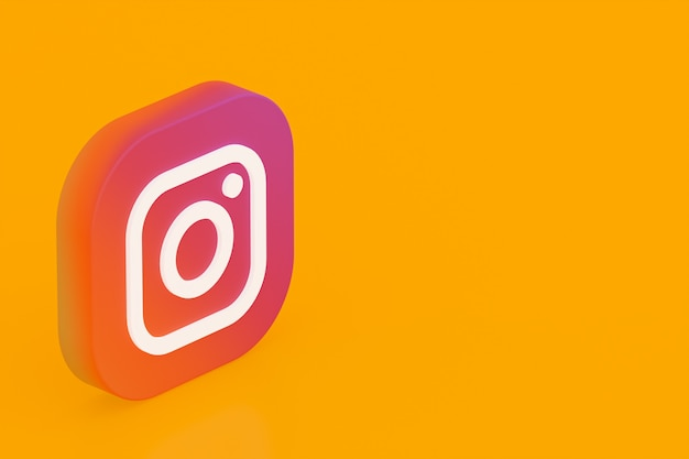 Rendu 3d du logo de l'application instagram sur fond jaune