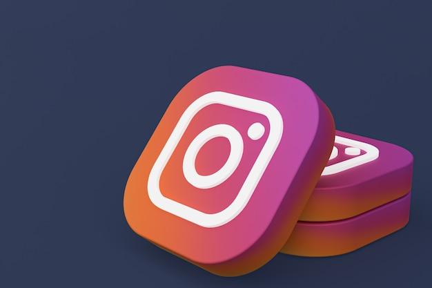 Rendu 3d du logo de l'application instagram sur fond noir