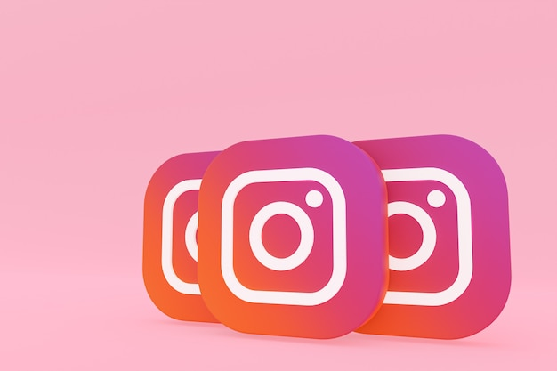 Rendu 3d du logo de l'application instagram sur fond rose