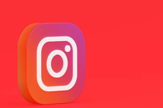 Rendu 3d Du Logo De L'application Instagram Sur Fond Rouge Photo Premium