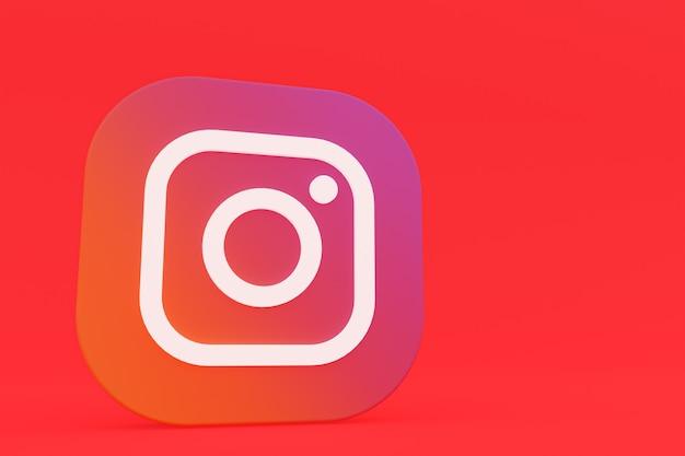 Rendu 3d du logo de l'application instagram sur fond rouge