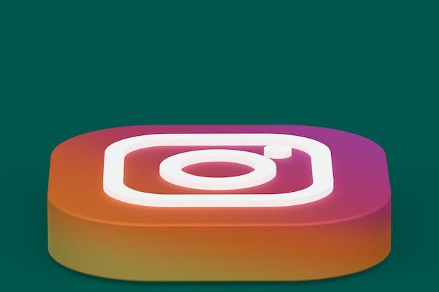 Rendu 3d du logo de l'application instagram sur fond vert