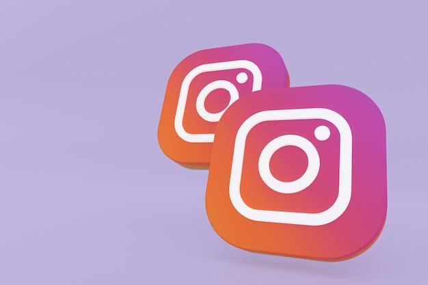 Rendu 3d du logo de l'application instagram sur fond violet
