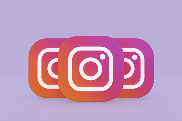 Rendu 3d du logo de l'application instagram sur fond violet