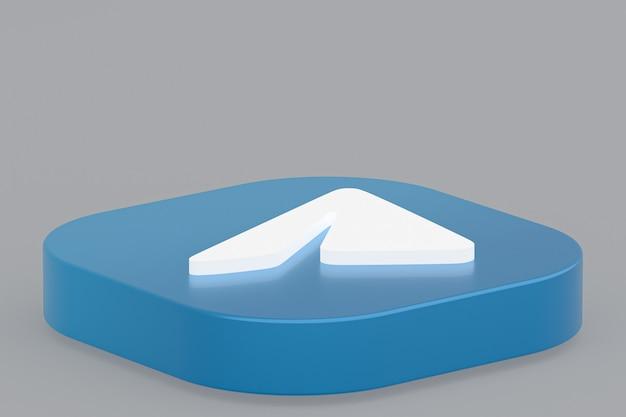 Rendu 3d du logo de l'application telegram sur fond gris