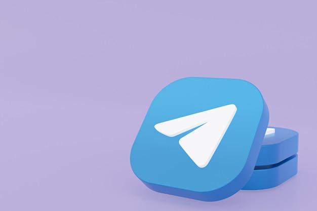 Rendu 3d du logo de l'application telegram sur fond violet