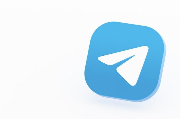 Rendu 3d du logo de l'application de télégramme sur fond blanc