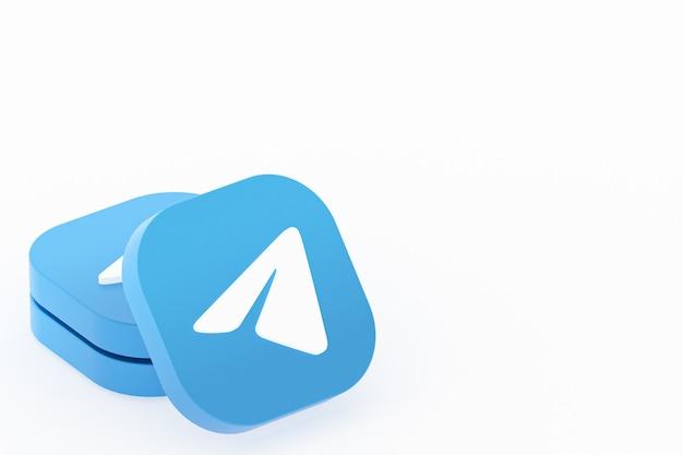 Rendu 3d du logo de l'application télégramme sur fond blanc