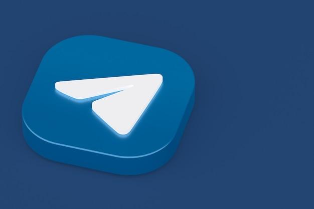 Rendu 3d du logo de l'application de télégramme sur fond bleu
