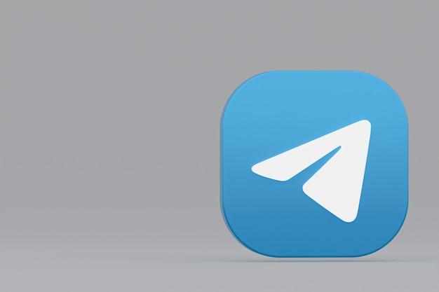 Rendu 3d du logo de l'application télégramme sur fond gris