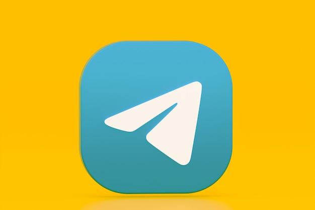 Rendu 3d du logo de l'application de télégramme sur fond jaune