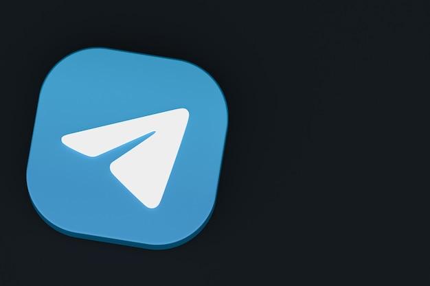 Rendu 3d du logo de l'application de télégramme sur fond noir