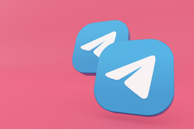 Rendu 3d du logo de l'application de télégramme sur fond rose