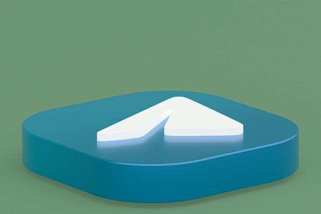 Rendu 3d Du Logo De L'application De Télégramme Sur Fond Vert Photo Premium