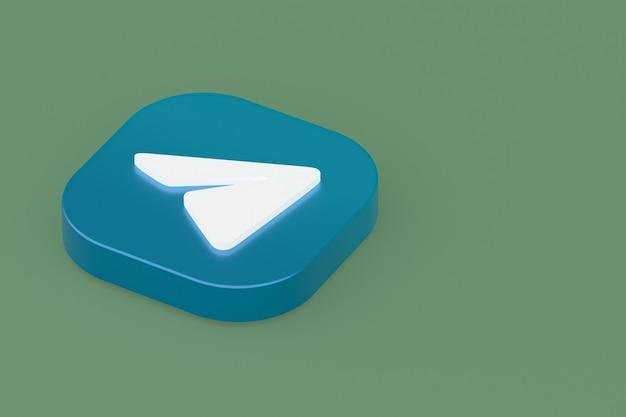 Rendu 3d du logo de l'application de télégramme sur fond vert