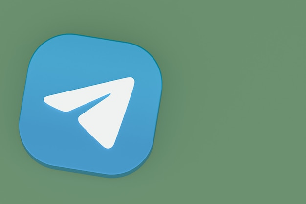 Rendu 3d du logo de l'application télégramme sur fond vert