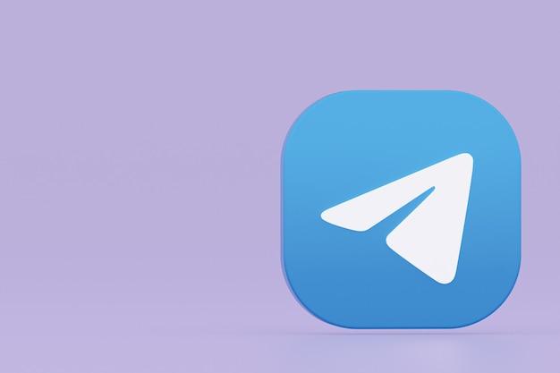 Rendu 3d du logo de l'application télégramme sur fond violet