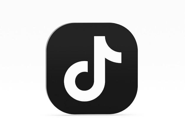 Rendu 3d du logo de l'application tiktok sur fond blanc