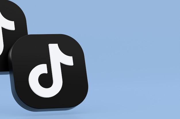Rendu 3d du logo de l'application tiktok sur fond bleu