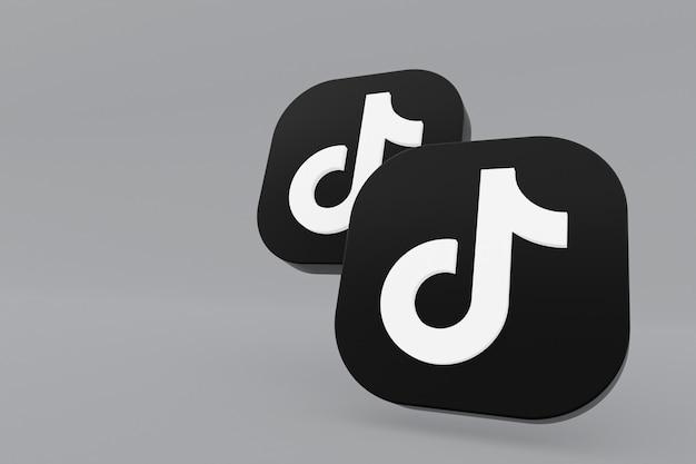 Rendu 3d du logo de l'application tiktok sur fond gris