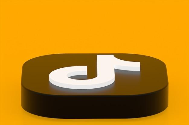 Rendu 3d du logo de l'application tiktok sur fond jaune