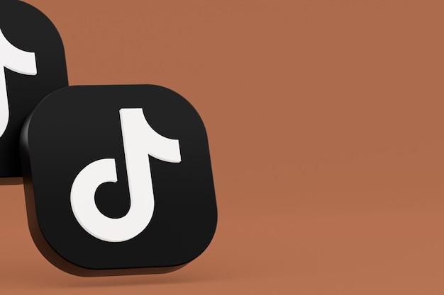 Rendu 3d du logo de l'application tiktok sur fond marron