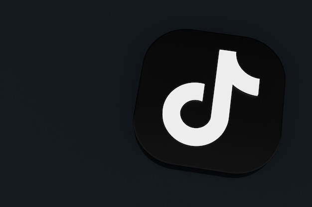 Rendu 3d du logo de l'application tiktok sur fond noir