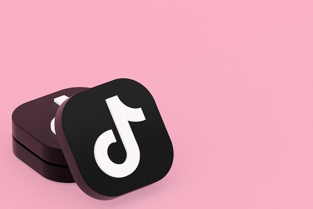 Rendu 3d du logo de l'application tiktok sur fond rose