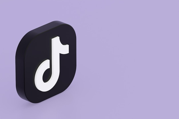 Rendu 3d du logo de l'application tiktok sur fond violet