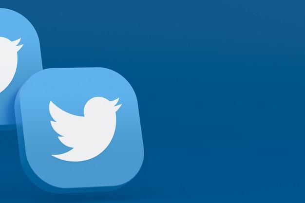 Rendu 3d du logo de l'application twitter sur fond bleu