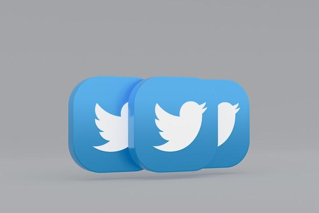 Rendu 3d du logo de l'application twitter sur fond gris