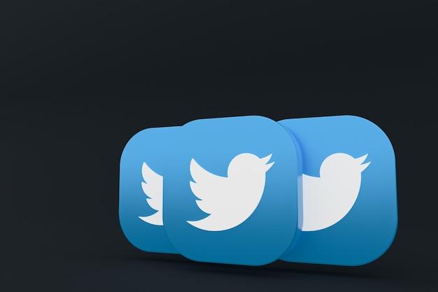 Rendu 3d du logo de l'application twitter sur fond noir