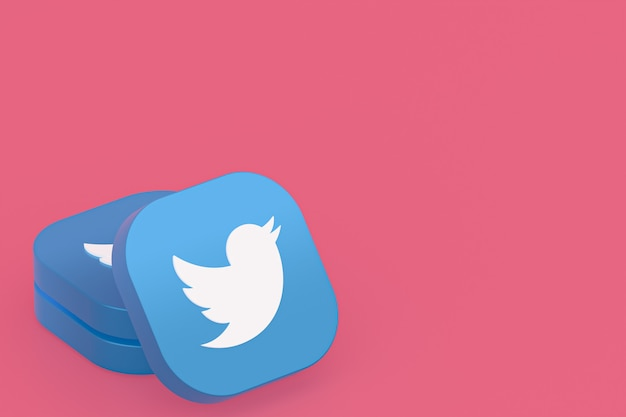 Rendu 3d du logo de l'application twitter sur fond rose