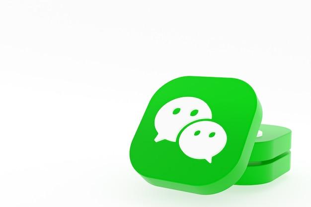 Rendu 3d du logo de l'application wechat sur fond blanc