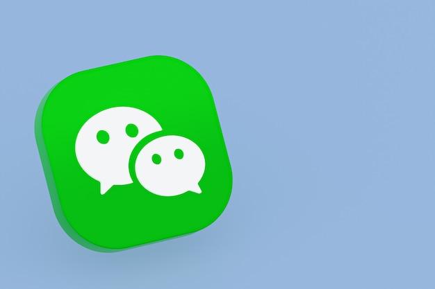 Rendu 3d du logo de l'application wechat sur fond bleu