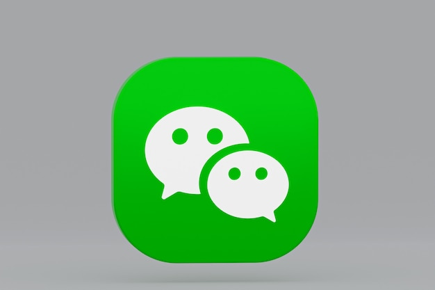 Rendu 3d du logo de l'application wechat sur fond gris