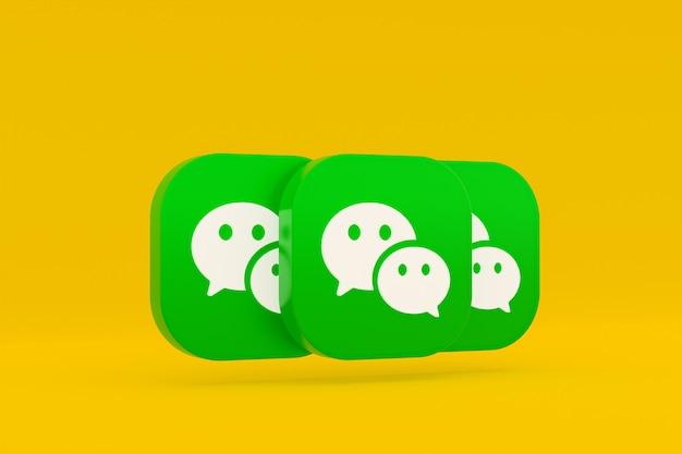 Rendu 3d du logo de l'application wechat sur fond jaune