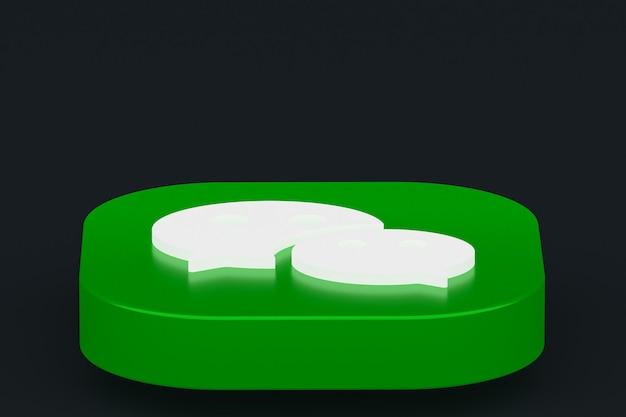 Rendu 3d du logo de l'application wechat sur fond noir