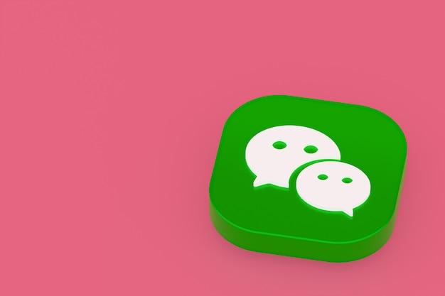 Rendu 3d du logo de l'application wechat sur fond rose