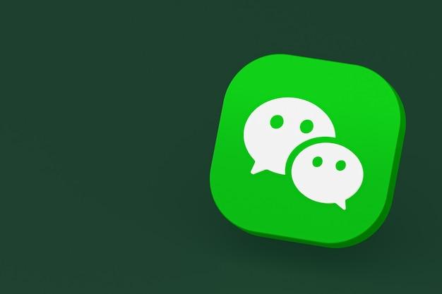 Rendu 3d du logo de l'application wechat sur fond vert